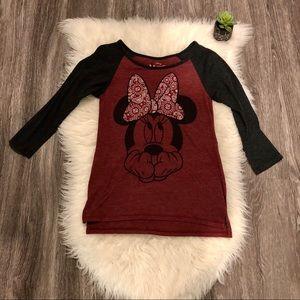 Disney Minnie Mouse Raglan 3/4 Sleeve Shirt